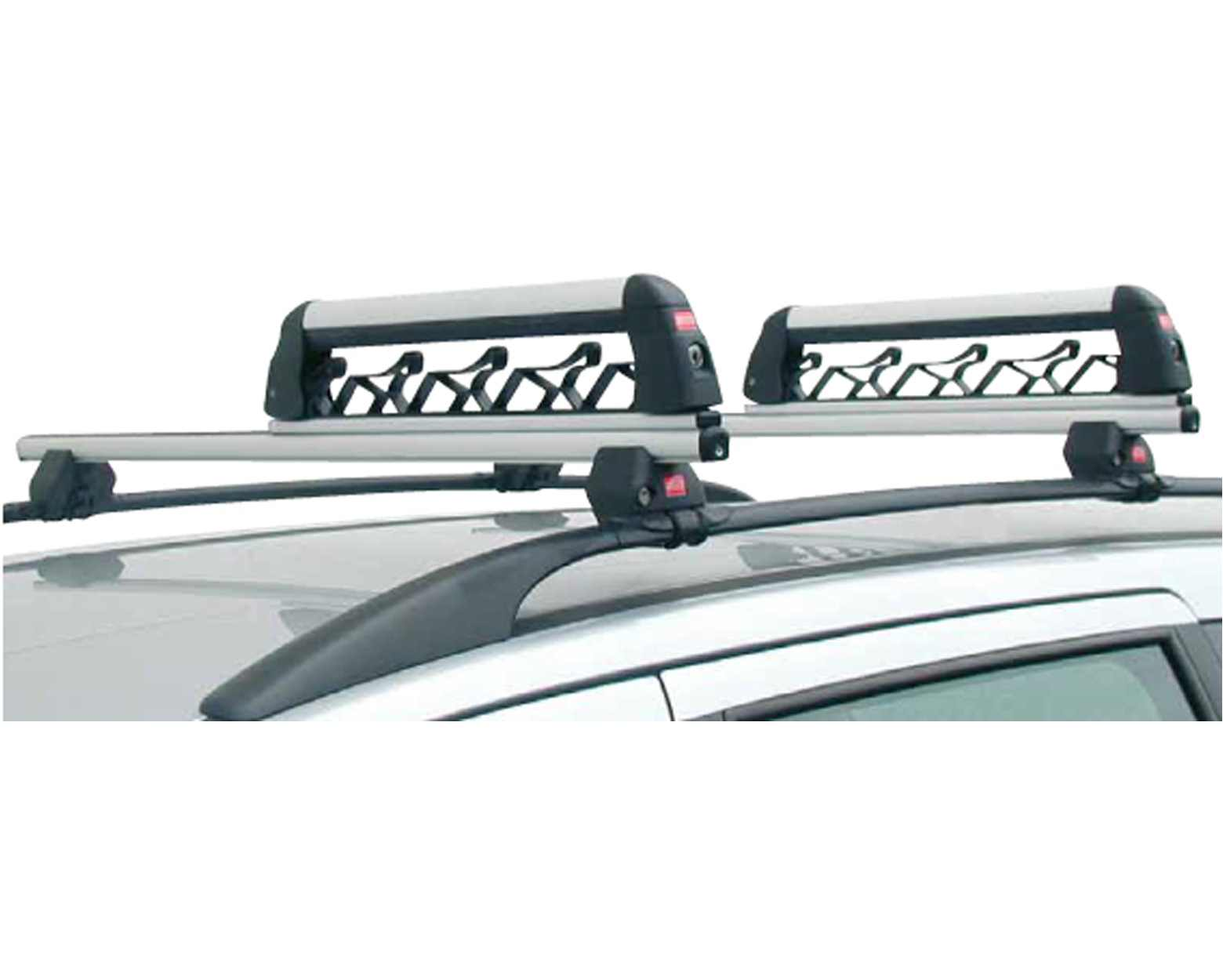 ski racks on a car roof