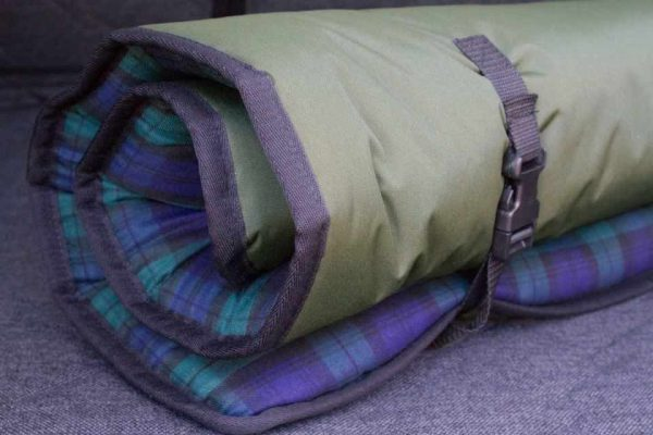 Rolled up dog bed